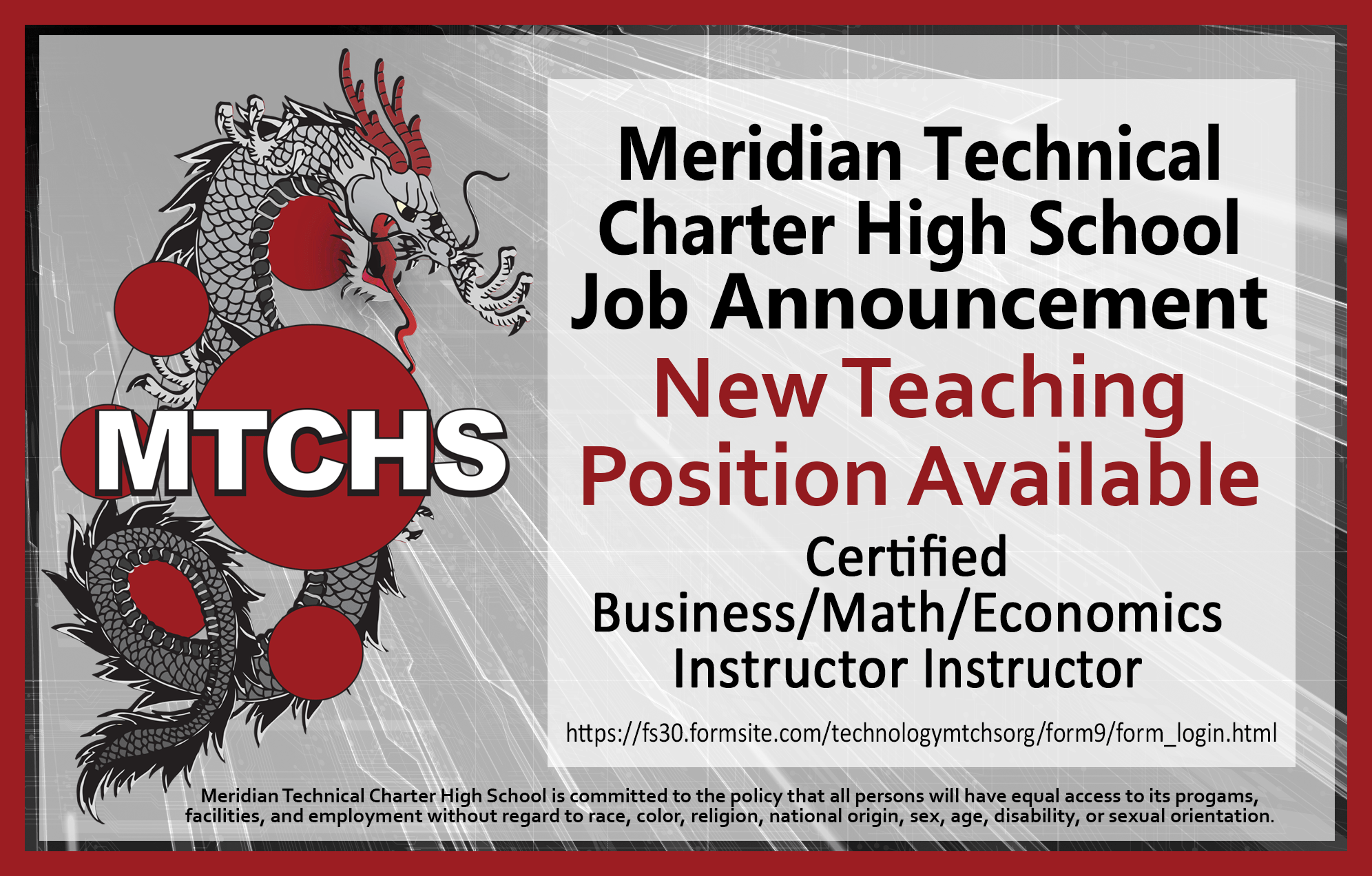 Second MTCHS Job Opening