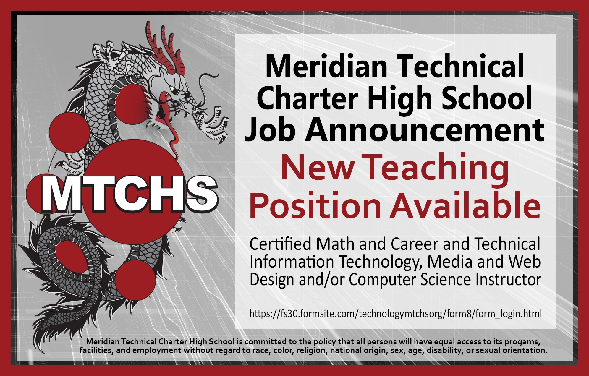 MTCHS Job Opening