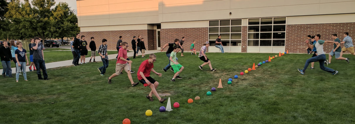 Students racing to the dodge ball lineup